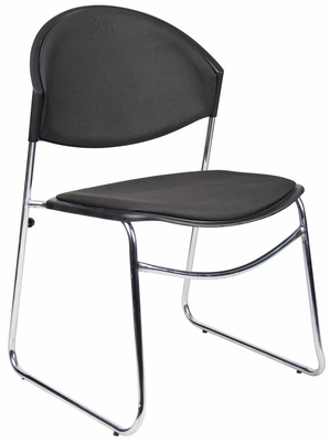 Boss Stack Chair With Chrome Frame in Black - 4 pcs - B1401-BK-4