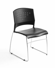 Boss Stack Chair With Chrome Frame in Black - B1400-BK-1