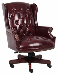 Boss Wingback Traditional Chair In Burgundy - B800-BY
