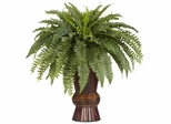 Boston Fern with Bamboo Vase - Nearly Natural - 6628