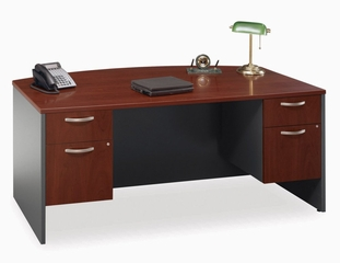 Bow Front Desk and Pedestals Set - Series C Hansen Cherry Collection - Bush Office Furniture - WC24446-90