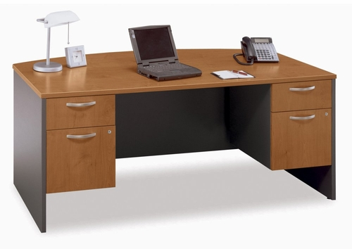 Bow Front Desk and Pedestals Set - Series C Natural Cherry Collection - Bush Office Furniture - WC72446-90