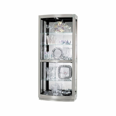Bradington II Curio Cabinet in Nickel - Howard Miller