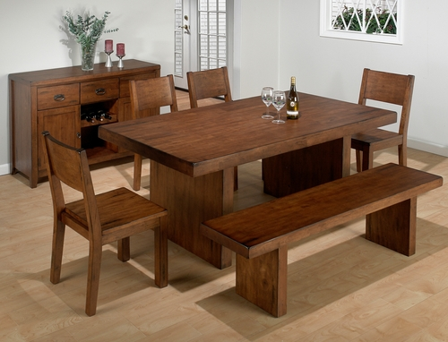 Braeburn Rough Hewn Cherry 7PC Dining Set with Bench - 252-75