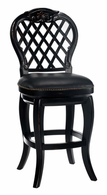 Braxton Wood Counter Stool with Black Leather Seat - 30