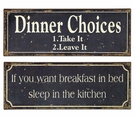 Breakfast and Dinner Signs (Set of 2) - IMAX - 27485-2