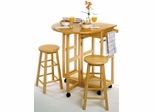 Breakfast Bar with Drop Leaf and 2 Stools - Winsome Trading - 89332