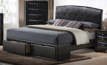 Briana Queen Black Upholstered Bed - 300245Q
