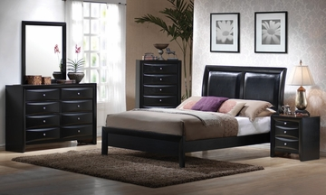 Briana Queen Size Bedroom Furniture Set in Glossy Black - Coaster - 200701Q-BSET