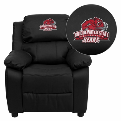 Bridgewater State University Bears Black Leather Kids Recliner - BT-7985-KID-BK-LEA-41009-EMB-GG
