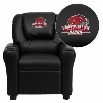 Bridgewater State University Bears Black Vinyl Kids Recliner - DG-ULT-KID-BK-41009-EMB-GG