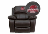 Bridgewater State University Bears Brown Leather Rocker Recliner - MEN-DA3439-91-BRN-41009-EMB-GG