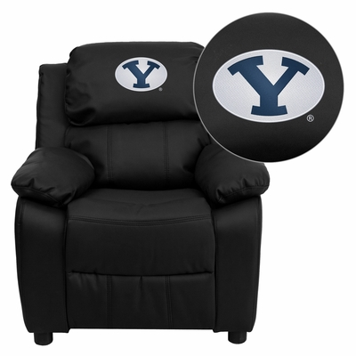 Brigham Young University Cougars Black Leather Kids Recliner - BT-7985-KID-BK-LEA-40010-EMB-GG