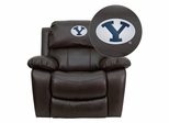 Brigham Young University Cougars Leather Rocker Recliner - MEN-DA3439-91-BRN-40010-EMB-GG
