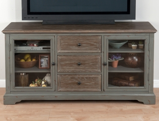"Brimfield Antiqued Grey 60"" TV Stand with 3 Drawers - 050-9"
