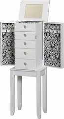 Brittany Jewelry Armoire in White - Linon