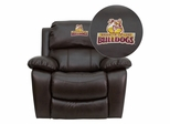 Brooklyn College Bulldogs Leather Rocker Recliner  - MEN-DA3439-91-BRN-41010-EMB-GG