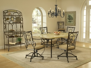 Brookside 5-Piece Rectangle Dining Set with Oval Back Caster Chairs in Brown Powder Coat - Hillsdale Furniture - 4815DTBCOVC