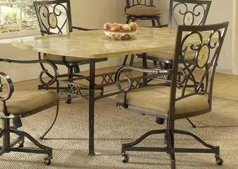Brookside Rectangle Dining Table in Brown Powder Coat / Fossil Stone - Hillsdale Furniture - 4815DTB