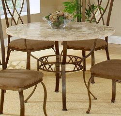 Brookside Round Dining Table in Brown Powder Coat / Fossil Stone - Hillsdale Furniture - 4815DTRNB