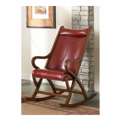 Brown Cherry / Red Leather Rocking Chair - Largo - LARGO-ST-L765