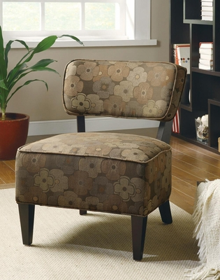 Brown Floral Armless Accent Chair  - 900514