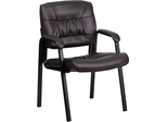 Brown Leather Guest / Reception Chair - BT-1404-BN-GG