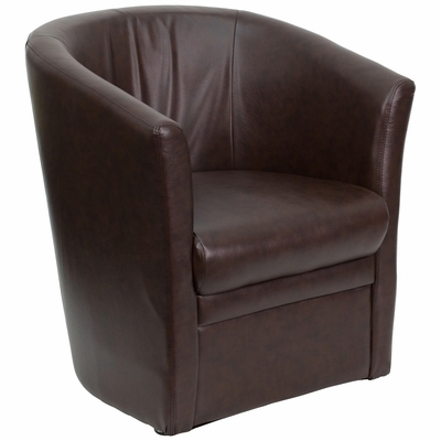 Brown Leather Reception Chair - GO-S-01A-BN-FULL-GG
