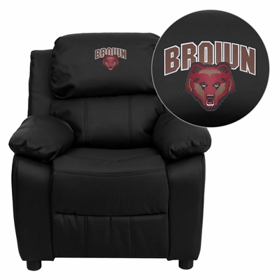 Brown University Bears Black Leather Kids Recliner - BT-7985-KID-BK-LEA-45003-EMB-GG