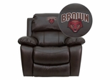 Brown University Bears Leather Rocker Recliner - MEN-DA3439-91-BRN-45003-EMB-GG