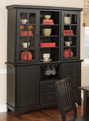Buffet and Hutch in Ebony - Arts and Crafts - 5181-69-307