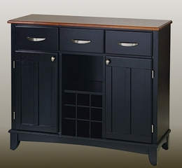 Buffet - Black Buffet with Cottage Oak Wood Top - Home Styles - 5100-0046