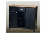 Buffet - Black Buffet with Natural Wood Top - Home Styles - 5100-0041