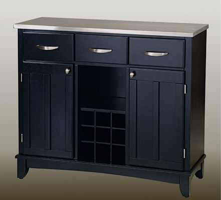 Buffet - Black Buffet with Stainless Top - Home Styles - 5100-0043