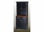 Buffet - Black Buffet with Two Door Hutch and Cottage Oak Wood Top - Home Styles - 5001-0046-42