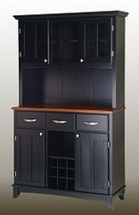 Buffet - Black Buffet with Two Door Hutch and Cottage Oak Wood Top - Home Styles - 5100-0046-42