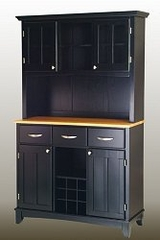 Buffet - Black Buffet with Two Door Hutch and Natural Wood Top - Home Styles - 5100-0041-42