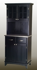 Buffet - Black Buffet with Two Door Hutch and Stainless Top - Home Styles - 5001-0043-42