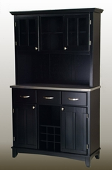 Buffet - Black Buffet with Two Door Hutch and Stainless Top - Home Styles - 5100-0043-42