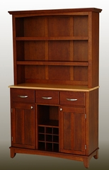 Buffet - Cherry Buffet with Open Hutch and Natural Wood Top - Home Styles - 5100-0071-70