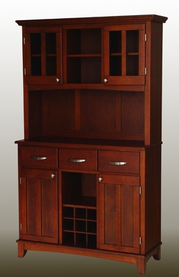 Buffet - Cherry Buffet with Two Door Hutch and Cherry Wood Top - Home Styles - 5100-0072-72