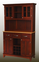 Buffet - Cherry Buffet with Two Door Hutch and Natural Wood Top - Home Styles - 5100-0071-72