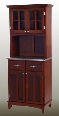 Buffet - Cherry Buffet with Two Door Hutch and Stainless Top - Home Styles - 5001-0073-72