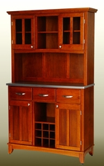 Buffet - Cottage Oak Buffet with Two Door Hutch and Stainless Top - Home Styles - 5100-0063-62