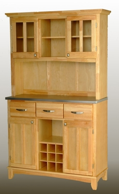 Buffet - Natural Wood Buffet with Two Door Hutch and Stainless Top - Home Styles - 5100-0013-12
