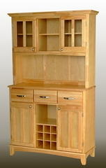 Buffet - Natural Wood Buffet with Two Door Hutch and Wood Top - Home Styles - 5100-0011-12