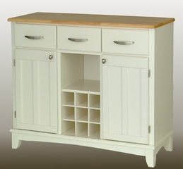 Buffet - White Buffet with Natural Wood Top - Home Styles - 5100-0021