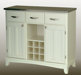 Buffet - White Buffet with Stainless Top - Home Styles - 5100-0023