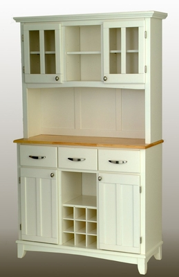 Buffet - White Buffet with Two Door Hutch and Natural Wood Top - Home Styles - 5100-0021-12