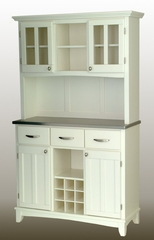 Buffet - White Buffet with Two Door Hutch and Stainless Top - Home Styles - 5100-0022-22